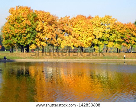 autumn in city park at october - stock photo