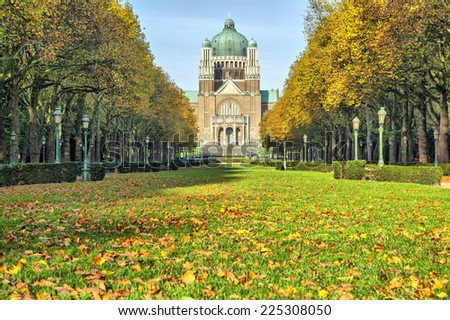 Autumn in Elisabeth park near basilica of Sacred Heart, Brussels, Belgium - stock photo