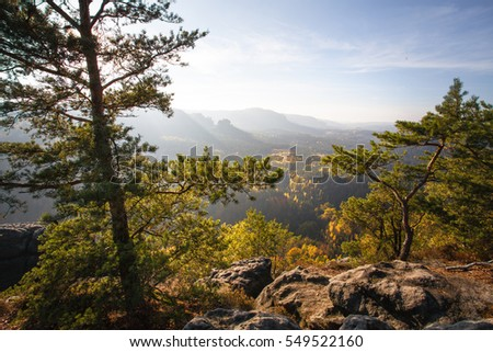 Autumn in german Mountains and Forests - Saxon Switzerland is a hilly climbing and hiking area and national park around the Elbe valley south-east of Dresden in Saxony, Germany.