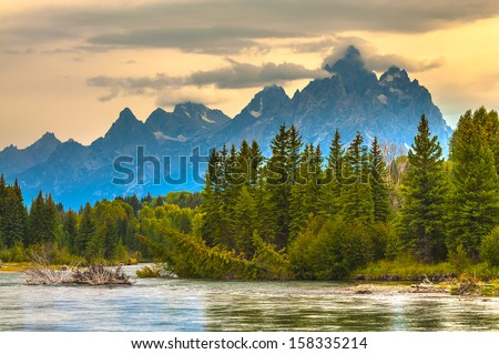 Autumn in Grand Tetons National Park Wyoming - stock photo