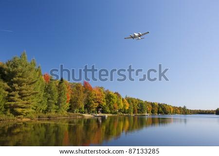 Autumn in Muskoka Lake, Ontario, Canada - stock photo
