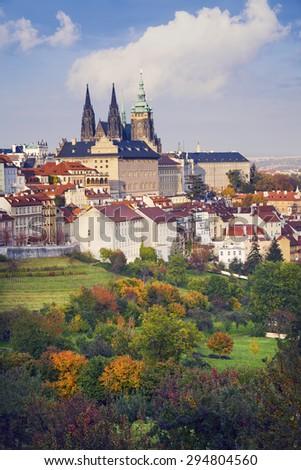 Autumn in Prague. Image of Prague, capital city of Czech Republic during sunny autumn day. - stock photo