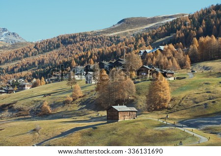 Autumn in the Alps Livigno, Lombardy, Italy - stock photo