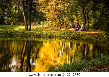 autumn in the forest by a lake with a bridge over - stock photo