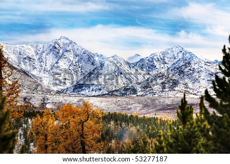 autumn in the high mountains - stock photo