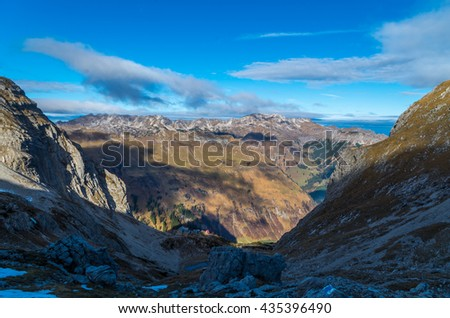 Autumn in the mountains of Allgau near Hochvogel and Prinz Luitpold Haus, Germany - stock photo
