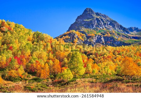 Autumn in the mountains. Picture was taken during trekking hike in beautiful scenic mountains of northern Caucasus at autumn, Arhiz region, Abishira-Ahuba range, Karachay-Cherkessia, Russia - stock photo