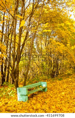 Autumn in the park. Colorful foliage in the autumn park.  - stock photo
