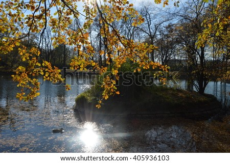 Autumn in the park with trees on a background of lake