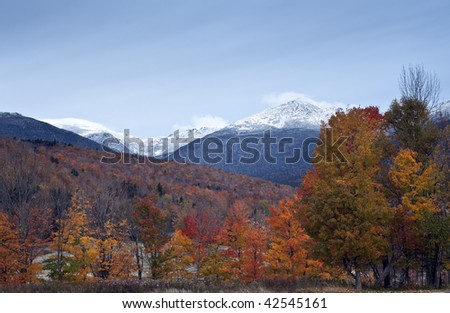 Autumn in the white mountains of New Hampshire with Mount Washington in the background