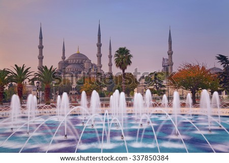 Autumn Istanbul. Image of the Blue Mosque in Istanbul, Turkey during autumn sunrise. - stock photo