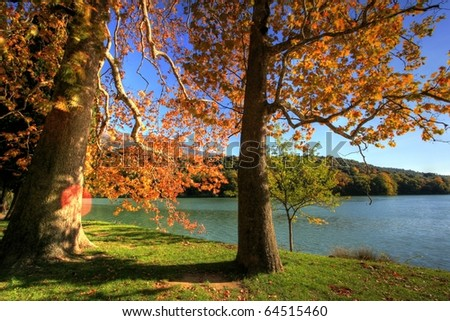 Autumn lake - stock photo