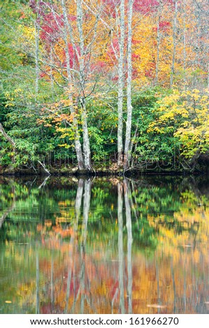 Autumn Lake Reflections North Carolina Blue Ridge Mountains - stock photo
