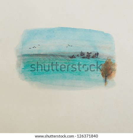 autumn landscape, a village in the field, watercolor illustration - stock photo