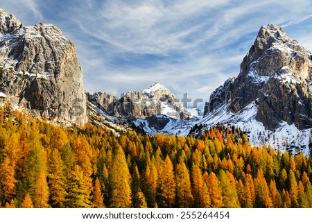 Autumn landscape at Cadini di Misurina, the Dolomites, Italy - stock photo
