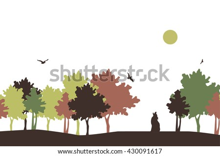 autumn landscape autumn landscape with silhouettes of trees , birds and foxes