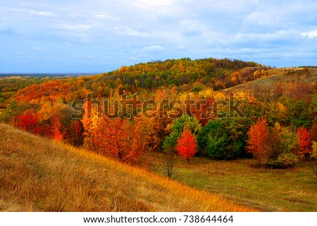 Autumn landscape, beautiful yellow and red trees, road, mountainous area against the cloudy sky. Weather, steppe, grass