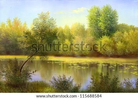 autumn landscape, canvas, oil - stock photo