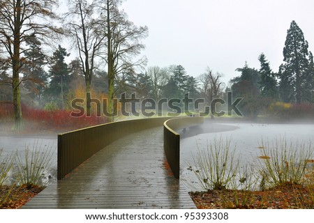 Autumn landscape: chill fog over frozen lake in park - stock photo