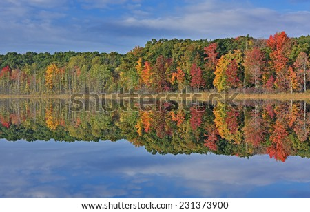 Autumn landscape, Deep Lake with reflections in calm water, Yankee Springs State Park, Michigan, USA  - stock photo