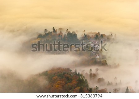 Autumn landscape: foggy morning on the hills of Baden-Baden, Germany - stock photo