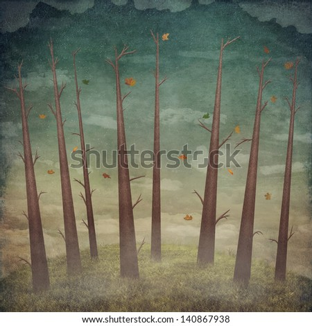 Autumn landscape: forest with  trees and the blue sky with white clouds - stock photo
