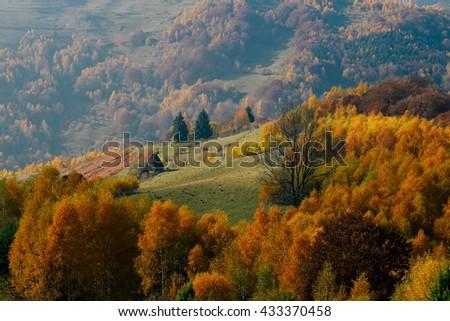 Autumn landscape from Transylvania, Romania - stock photo