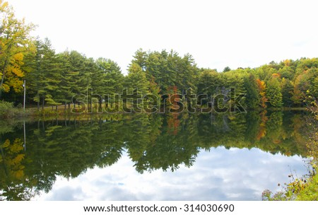 Autumn landscape in New England, USA - stock photo