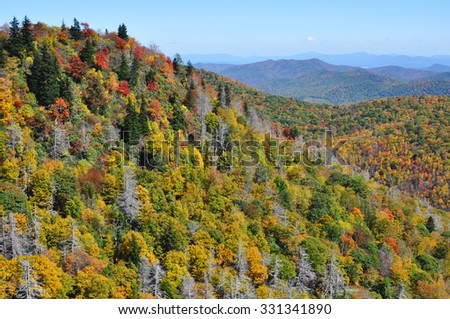 Autumn landscape in the Blue Ridge Mountains section of the Appalachian range - stock photo