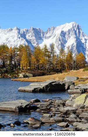 autumn landscape near Mont Blanc massif at lake Arpy, Italy