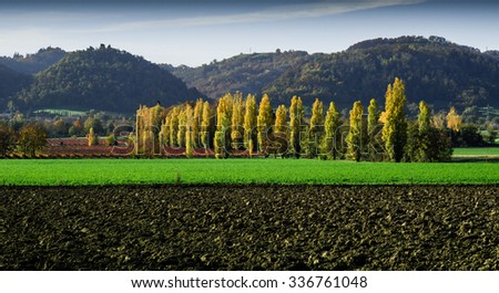 Autumn landscape of Quattro Castella, in the north of Italy - stock photo