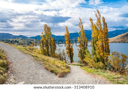 Autumn landscape, Queenstown, New Zealand  - stock photo