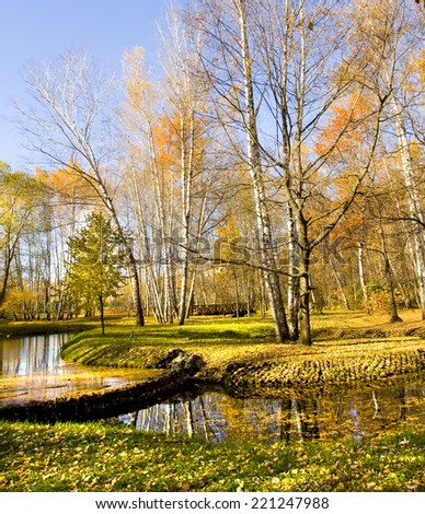Autumn landscape, recorded in park Sokolniki in Moscow.