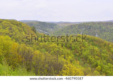 Autumn landscape, trees over mountains