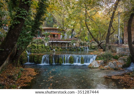 Autumn landscape with a river and small house, Livadia, Greece
