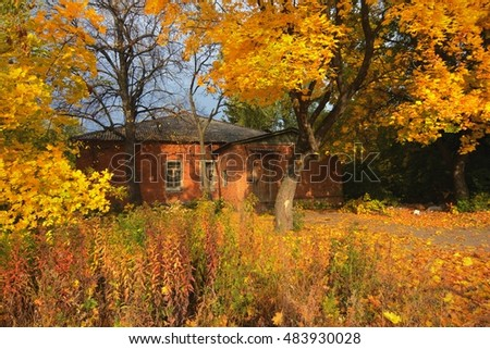 Autumn Landscape with a view of a brick house in the trees yellow foliage