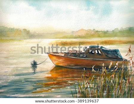 Autumn landscape with boat on the lake.Picture created with watercolors.