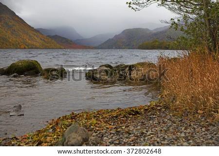 Autumn landscape with Loch Tay near Killin, Scotland. - stock photo