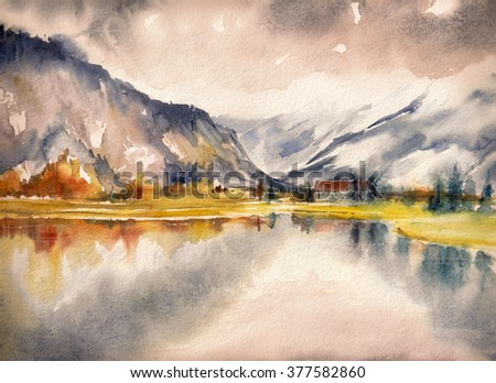Autumn landscape with mountain lake painted by watercolor - stock photo