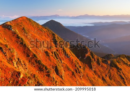 Autumn Landscape with red grass on the mountain slopes. Sunny morning in the mountains