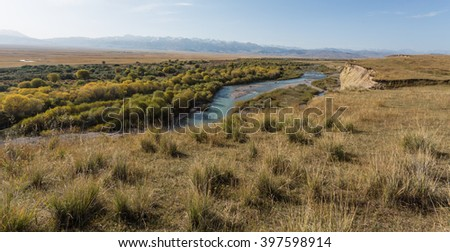 Autumn landscape with river, Kazakhstan - stock photo