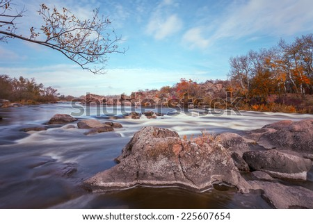 autumn landscape with Southern Bug river - stock photo