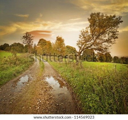 autumn landscape with sunset