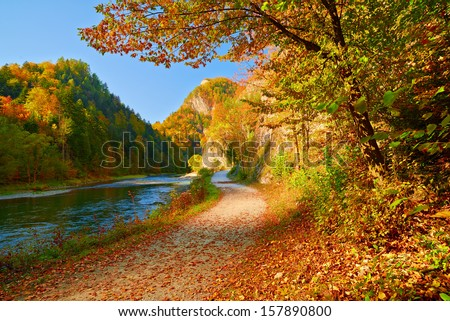 Autumn landscape with The Dunajec River Gorge. Pieniny Mountains view from Slovakia. - stock photo