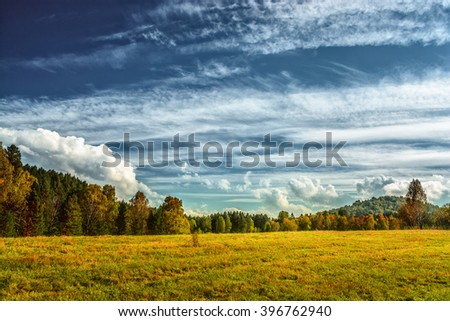 Autumn landscape with the forest, the field and the blue sky with clouds. - stock photo