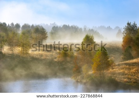 Autumn landscape with trees and the misty lake