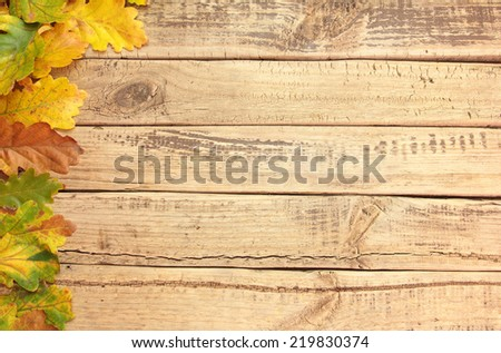 Autumn leafs on wooden board for background - stock photo