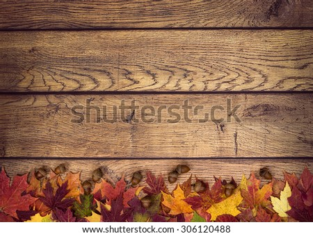 Autumn leaves and acorns on rustic wooden background. Fall background with copy space. - stock photo
