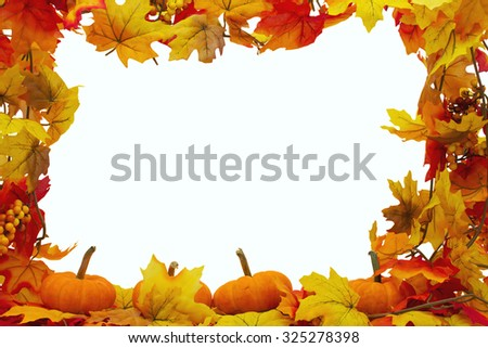 Autumn Leaves and Pumpkins Background, Autumn Leaves isolated on white with space for your message - stock photo