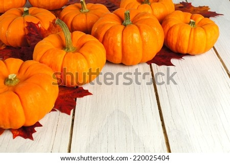 Autumn leaves and pumpkins forming a corner border against white wood